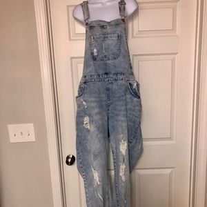 Distressed Jean Overalls